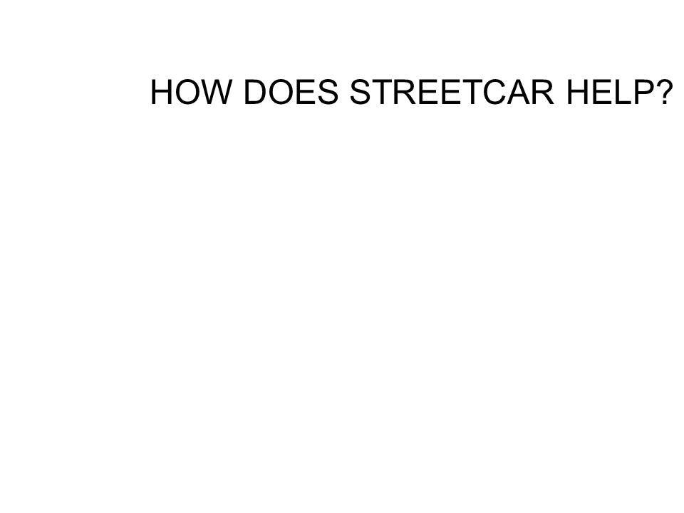HOW DOES STREETCAR HELP?