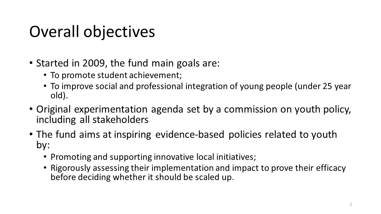 Overall objectives Started in 2009, the fund main goals are: To promote student achievement; To improve social and professional integration of young people (under 25 year old).