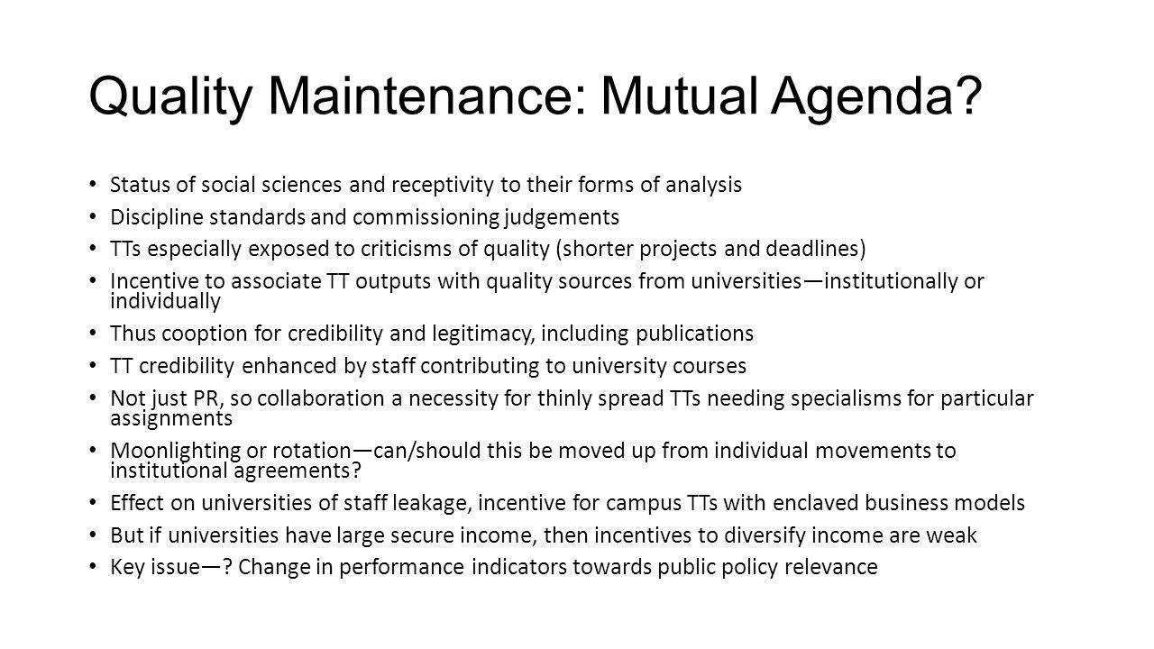 Quality Maintenance: Mutual Agenda.