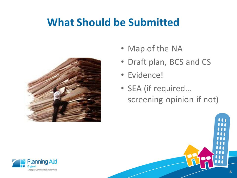 What Should be Submitted Map of the NA Draft plan, BCS and CS Evidence.