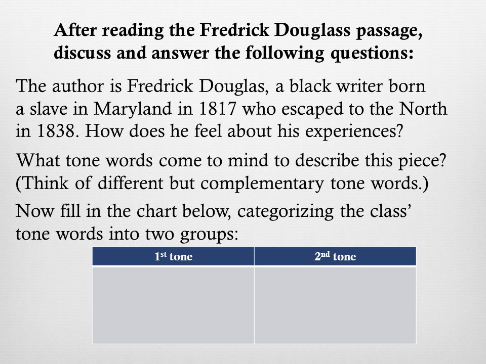 The author is Fredrick Douglas, a black writer born a slave in Maryland in 1817 who escaped to the North in 1838.