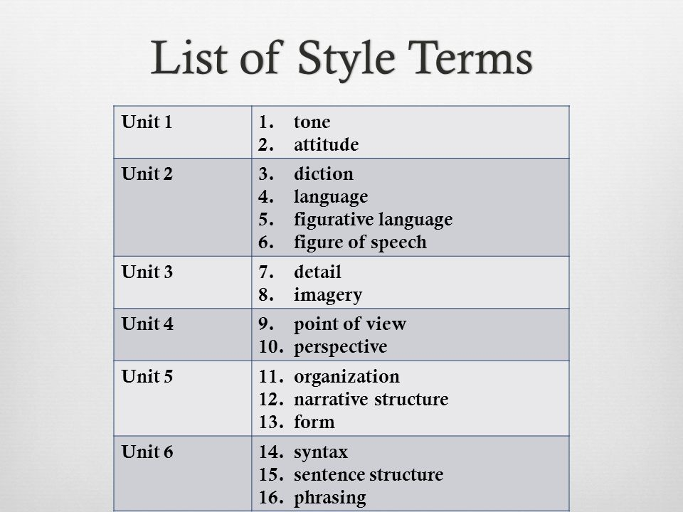 List of Style TermsList of Style Terms Unit 11. tone 2.