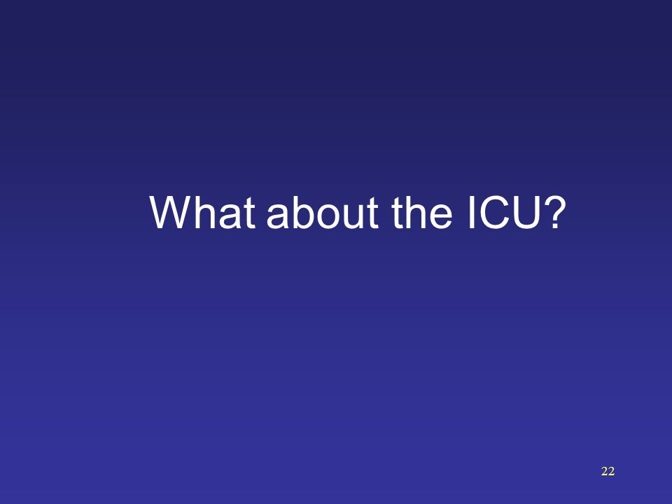 What about the ICU? 22