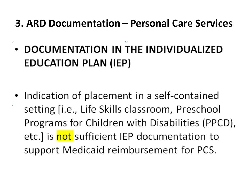 3. ARD Documentation – Personal Care Services