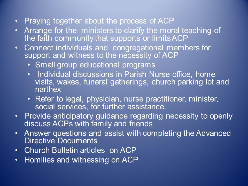 Lived Experience of the Parish Nurse Regarding ACP