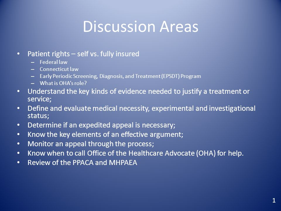 Discussion Areas Patient rights – self vs.