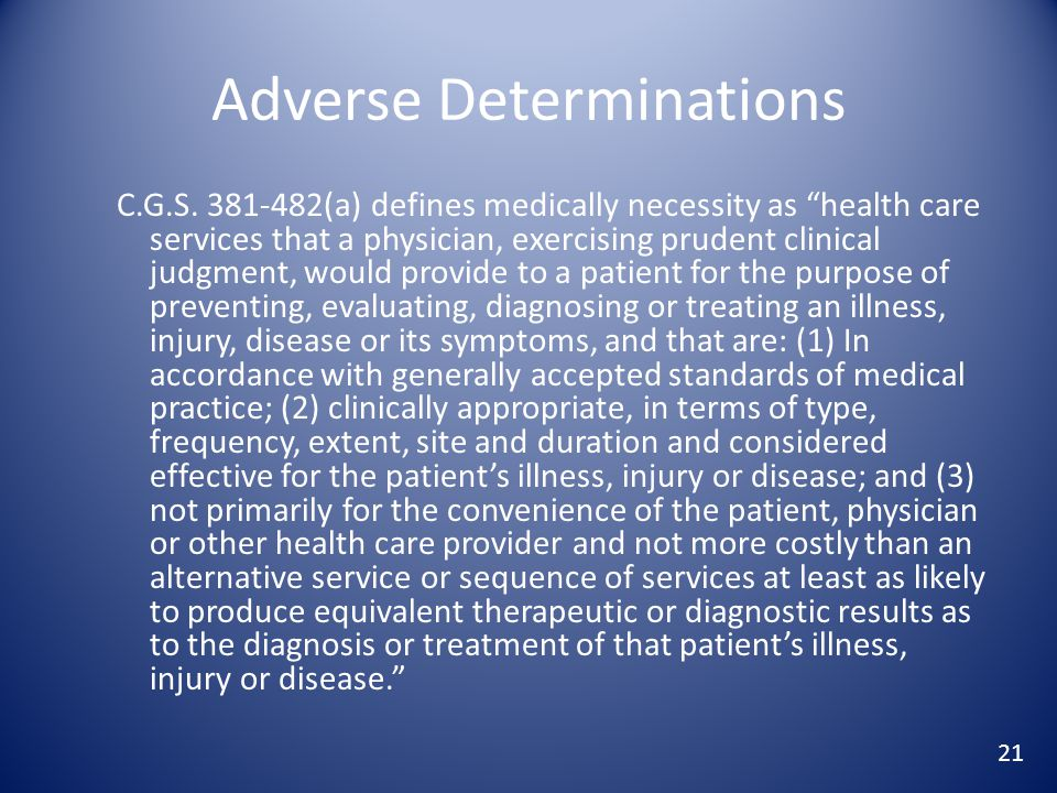 Adverse Determinations C.G.S.