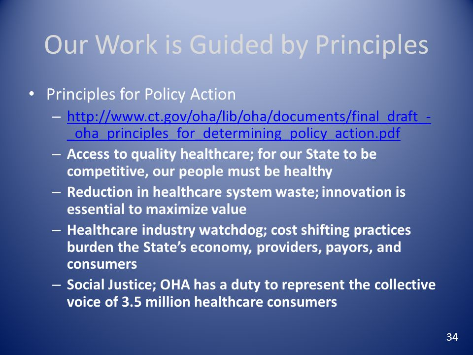 Our Work is Guided by Principles Principles for Policy Action – http://www.ct.gov/oha/lib/oha/documents/final_draft_- _oha_principles_for_determining_policy_action.pdf http://www.ct.gov/oha/lib/oha/documents/final_draft_- _oha_principles_for_determining_policy_action.pdf – Access to quality healthcare; for our State to be competitive, our people must be healthy – Reduction in healthcare system waste; innovation is essential to maximize value – Healthcare industry watchdog; cost shifting practices burden the State's economy, providers, payors, and consumers – Social Justice; OHA has a duty to represent the collective voice of 3.5 million healthcare consumers 34