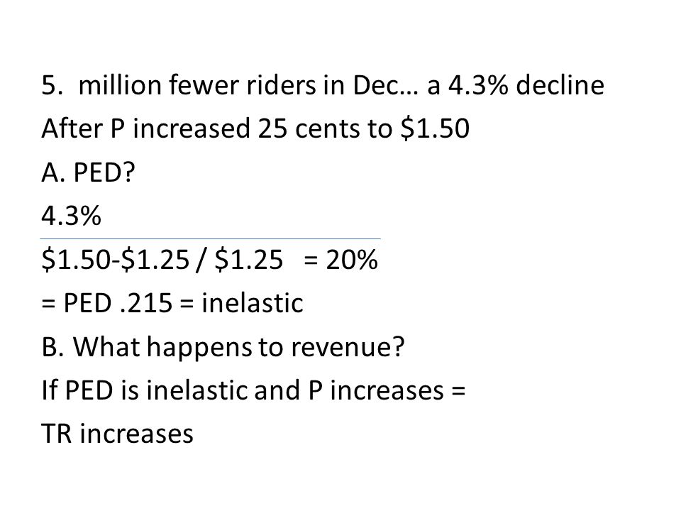 5. million fewer riders in Dec… a 4.3% decline After P increased 25 cents to $1.50 A. PED? 4.3% $1.50-$1.25 / $1.25 = 20% = PED.215 = inelastic B. Wha