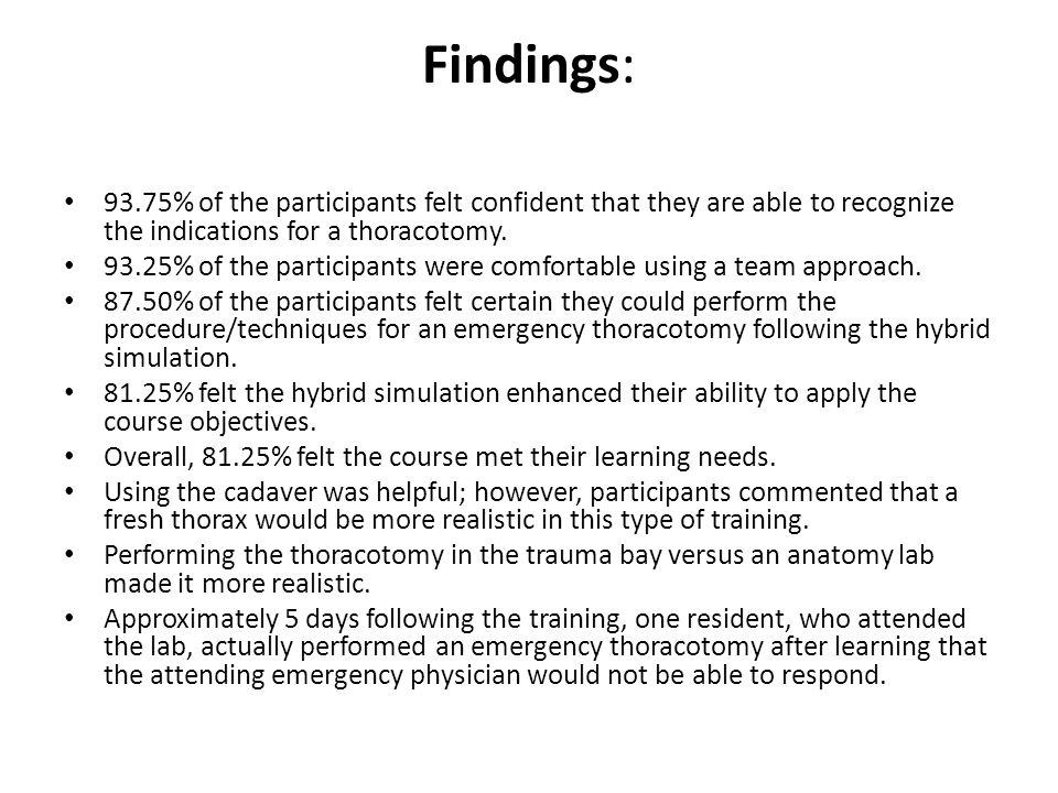 Findings: 93.75% of the participants felt confident that they are able to recognize the indications for a thoracotomy.