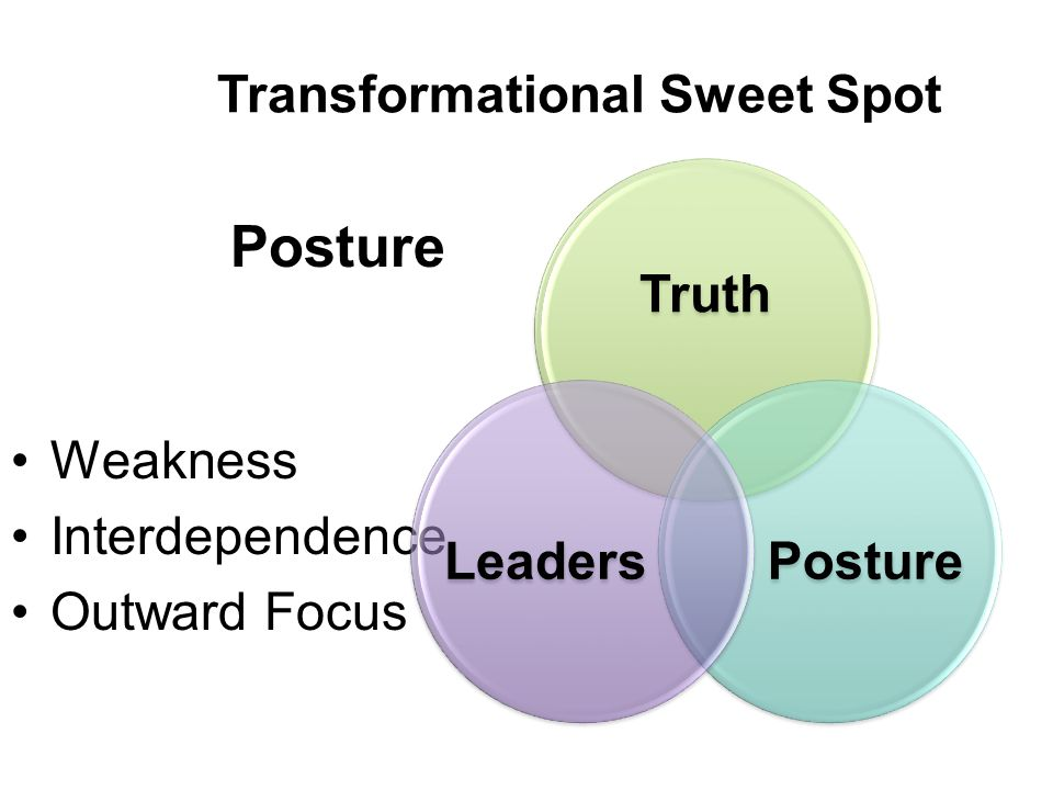 Transformational Sweet Spot Posture Weakness Interdependence Outward Focus
