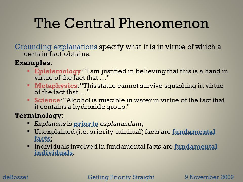 The Central Phenomenon Grounding explanations specify what it is in virtue of which a certain fact obtains.