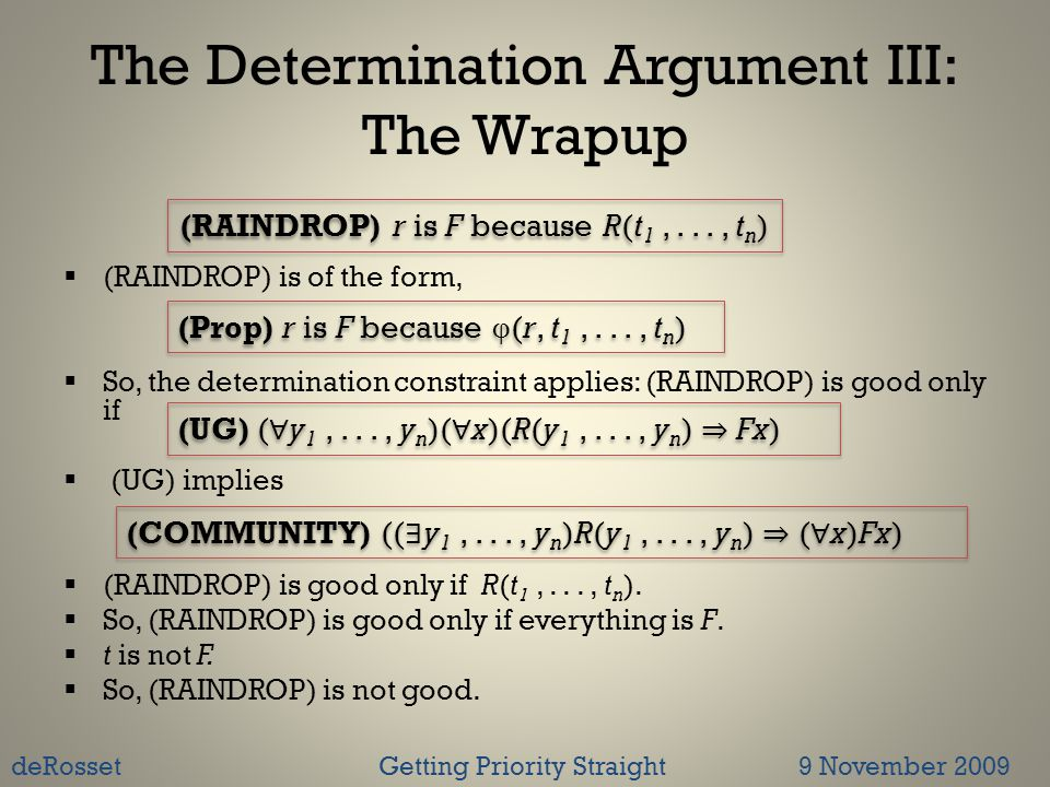 The Determination Argument III: The Wrapup  (RAINDROP) is of the form,  So, the determination constraint applies: (RAINDROP) is good only if  (UG) implies  (RAINDROP) is good only if R(t 1,..., t n ).