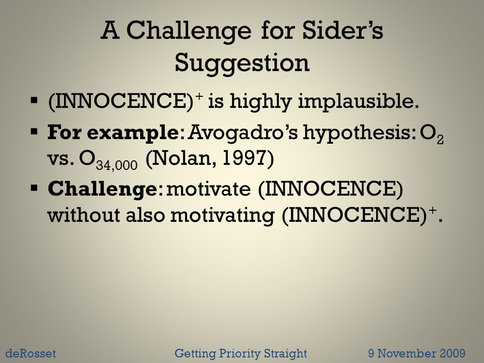 A Challenge for Sider's Suggestion  (INNOCENCE) + is highly implausible.