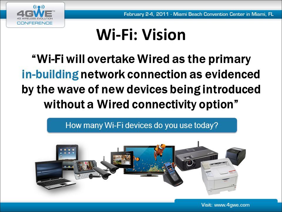 Wi-Fi: Vision Wi-Fi will overtake Wired as the primary in-building network connection as evidenced by the wave of new devices being introduced without a Wired connectivity option How many Wi-Fi devices do you use today