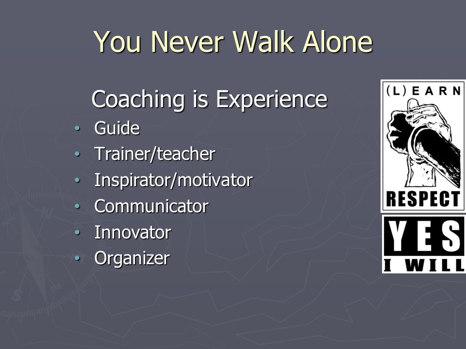 Coaching is Experience Guide Guide Trainer/teacher Trainer/teacher Inspirator/motivator Inspirator/motivator Communicator Communicator Innovator Innovator Organizer Organizer