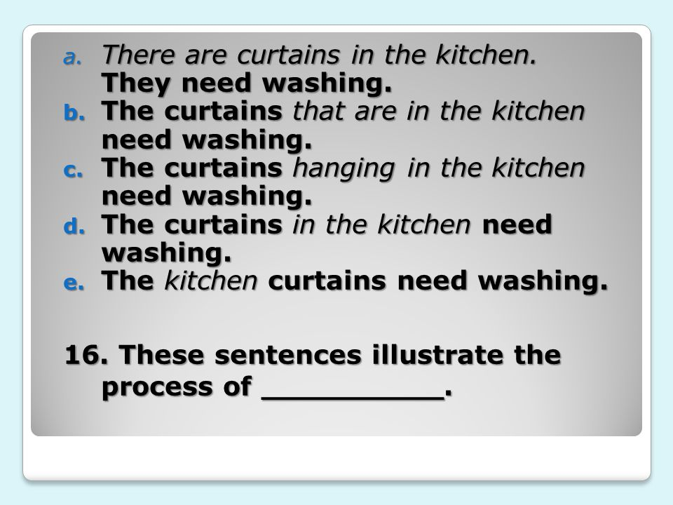 a. There are curtains in the kitchen. They need washing.