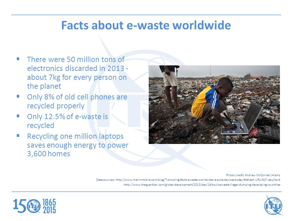 Facts about e-waste worldwide  There were 50 million tons of electronics discarded in 2013 - about 7kg for every person on the planet  Only 8% of ol