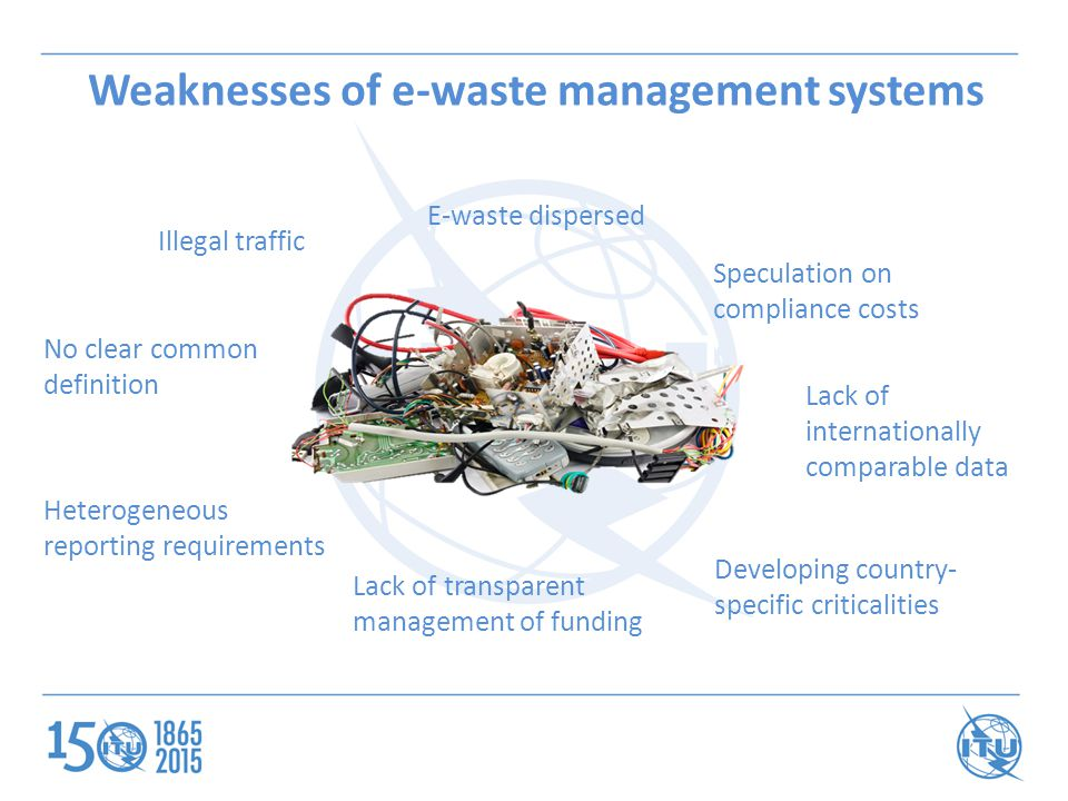 Weaknesses of e-waste management systems E-waste dispersed Illegal traffic Lack of transparent management of funding No clear common definition Hetero