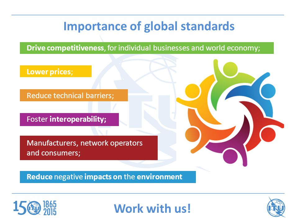 Importance of global standards Drive competitiveness, for individual businesses and world economy; Lower prices; Reduce technical barriers; Foster interoperability; Manufacturers, network operators and consumers; Reduce negative impacts on the environment.