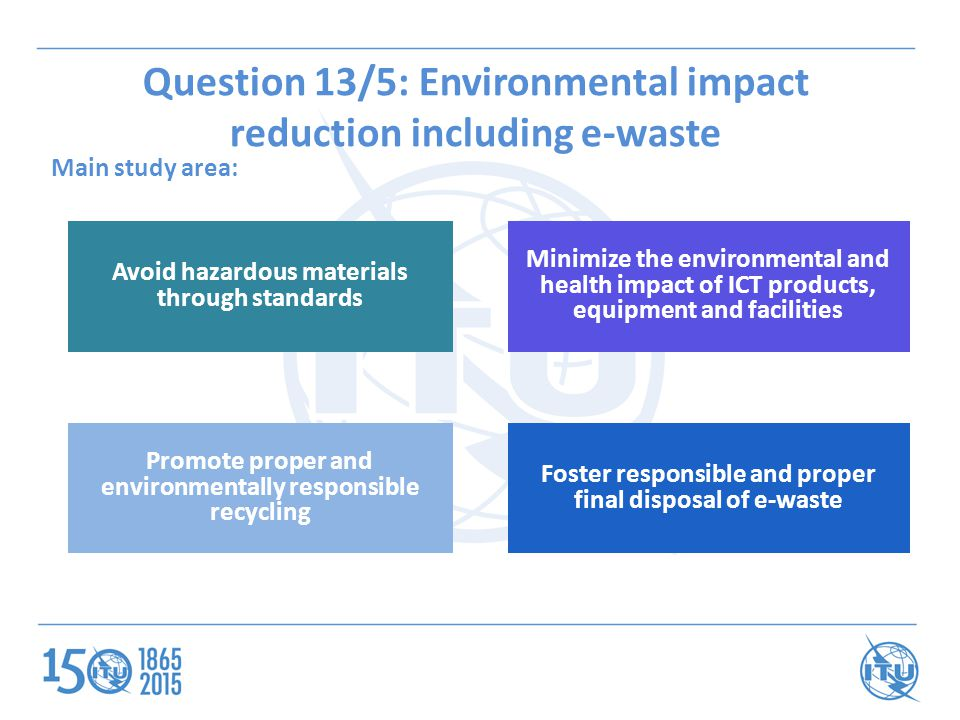 Question 13/5: Environmental impact reduction including e-waste Main study area: Avoid hazardous materials through standards Minimize the environmental and health impact of ICT products, equipment and facilities Promote proper and environmentally responsible recycling Foster responsible and proper final disposal of e-waste