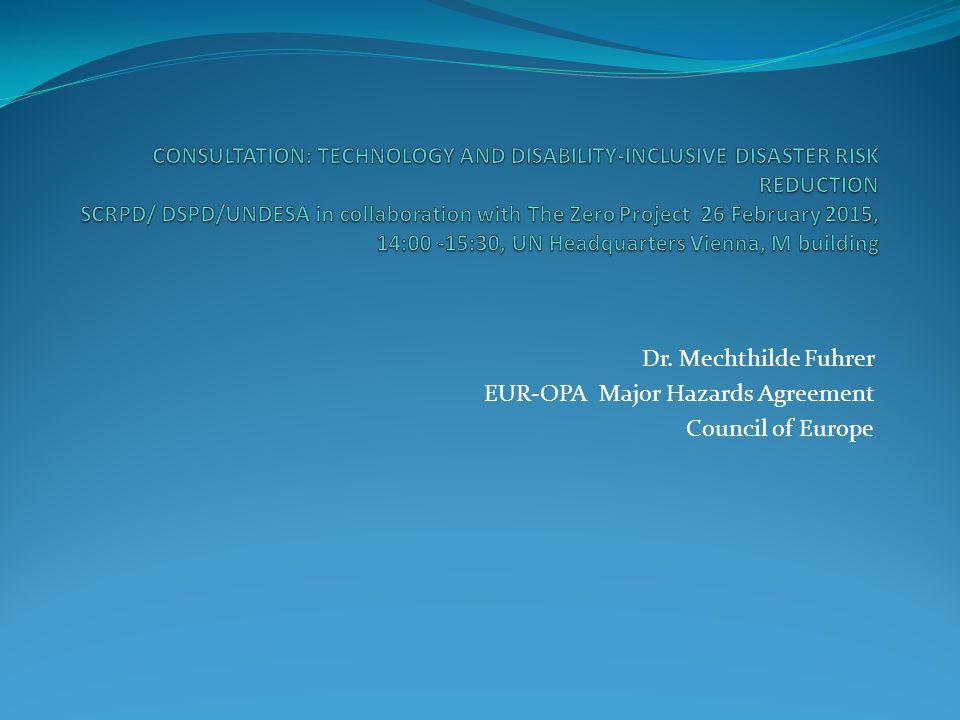Dr. Mechthilde Fuhrer EUR-OPA Major Hazards Agreement Council of Europe