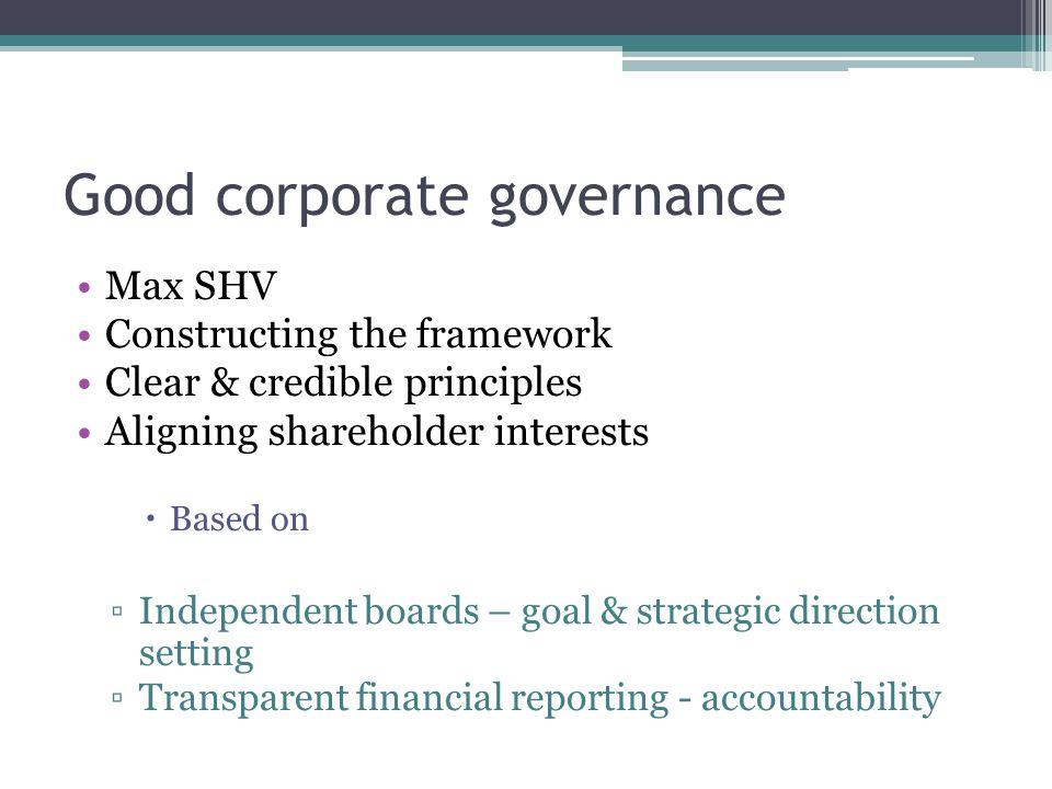 Corporate governance development CodesPrinciples For unlisted companies For listed companies Major contribution to growth & employment Major contribution to growth & employment