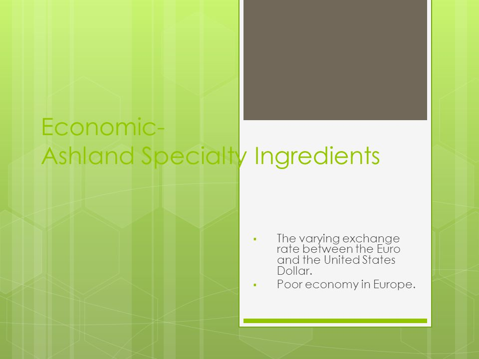 Social- Ashland Specialty Ingredients  Negative perception of food additives.