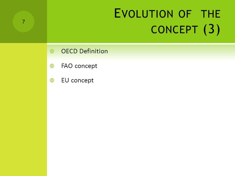 E VOLUTION OF THE CONCEPT (3)  OECD Definition  FAO concept  EU concept 7
