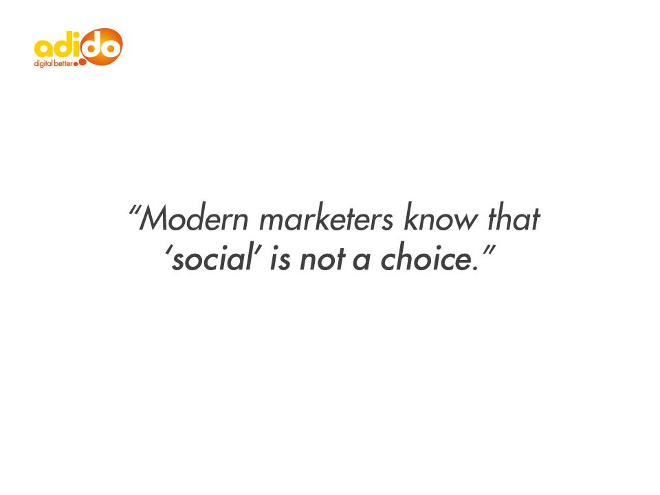 Modern marketers know that 'social' is not a choice.
