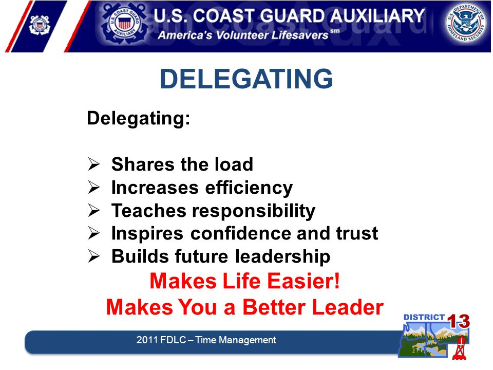 2011 FDLC – Time Management DELEGATING Delegating:  Shares the load  Increases efficiency  Teaches responsibility  Inspires confidence and trust  Builds future leadership Makes Life Easier.