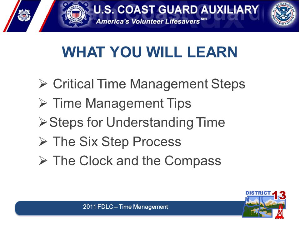 WHAT YOU WILL LEARN 2011 FDLC – Time Management  Critical Time Management Steps  Time Management Tips  Steps for Understanding Time  The Six Step