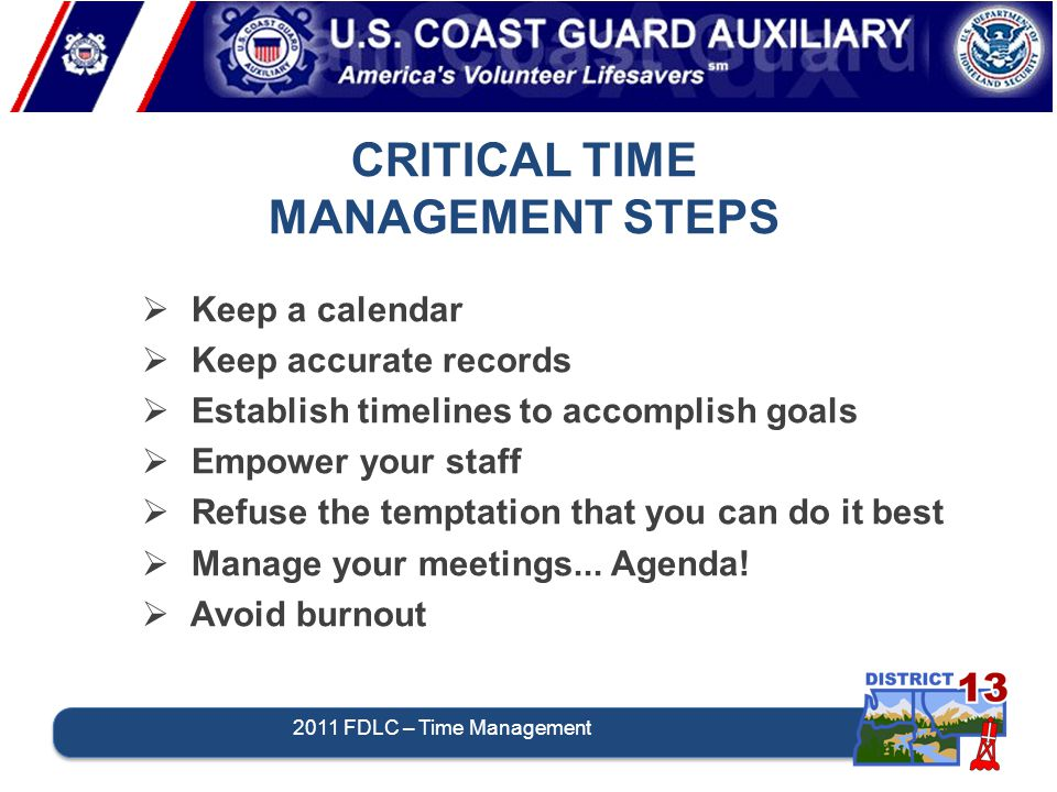CRITICAL TIME MANAGEMENT STEPS  Keep a calendar  Keep accurate records  Establish timelines to accomplish goals  Empower your staff  Refuse the t