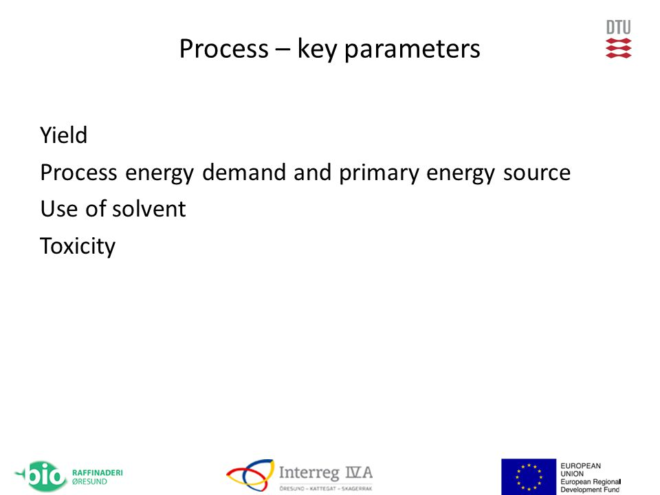 Process – key parameters Yield Process energy demand and primary energy source Use of solvent Toxicity