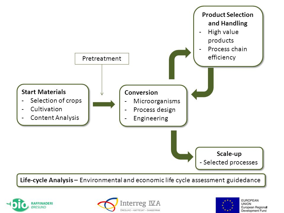 Start Materials -Selection of crops -Cultivation -Content Analysis Start Materials -Selection of crops -Cultivation -Content Analysis Conversion -Microorganisms -Process design -Engineering Conversion -Microorganisms -Process design -Engineering Product Selection and Handling -High value products -Process chain efficiency Product Selection and Handling -High value products -Process chain efficiency Life-cycle Analysis – Environmental and economic life cycle assessment guidedance Scale-up - Selected processes Scale-up - Selected processes Pretreatment