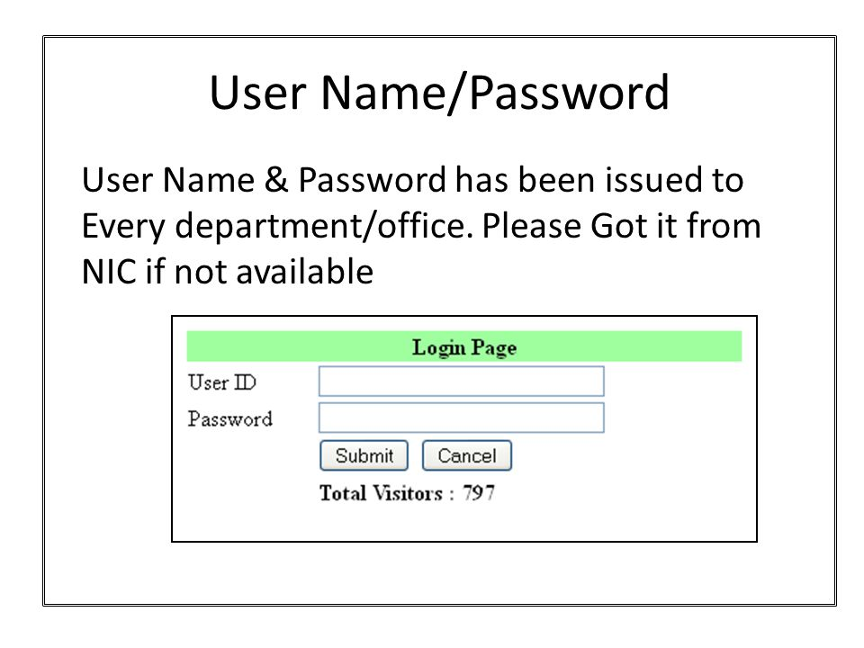 User Name/Password User Name & Password has been issued to Every department/office.
