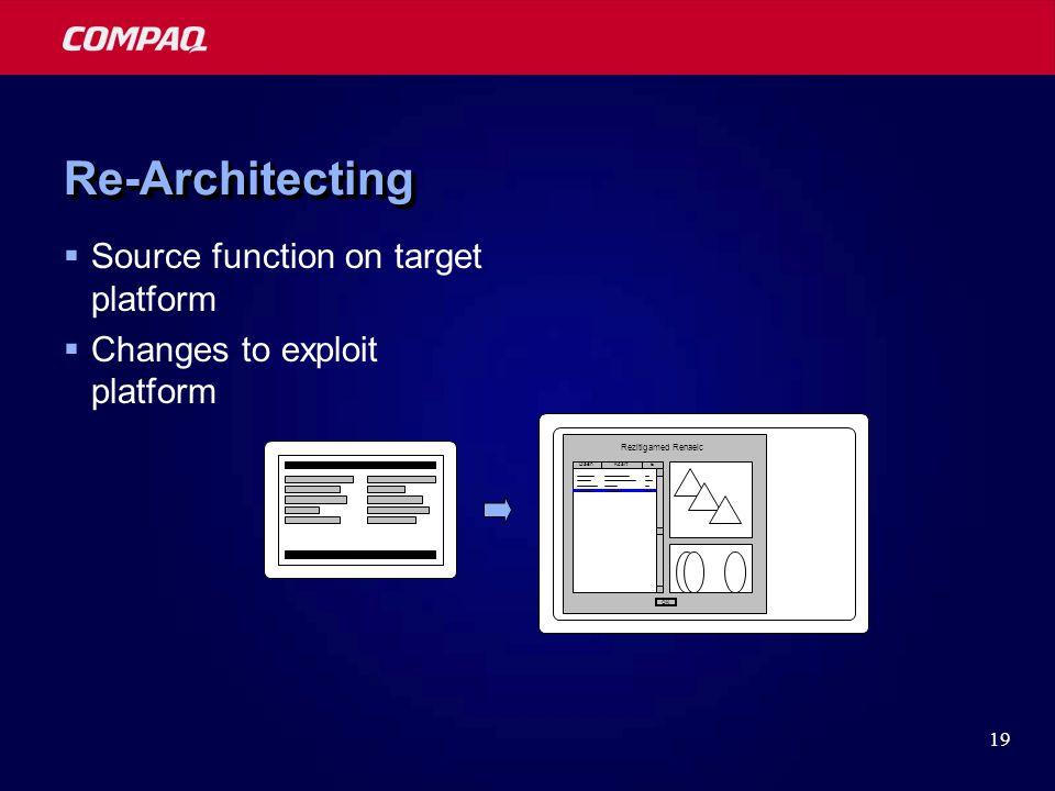 19 Rezitigamed Renaelc DaehKcartE OK Re-ArchitectingRe-Architecting  Source function on target platform  Changes to exploit platform