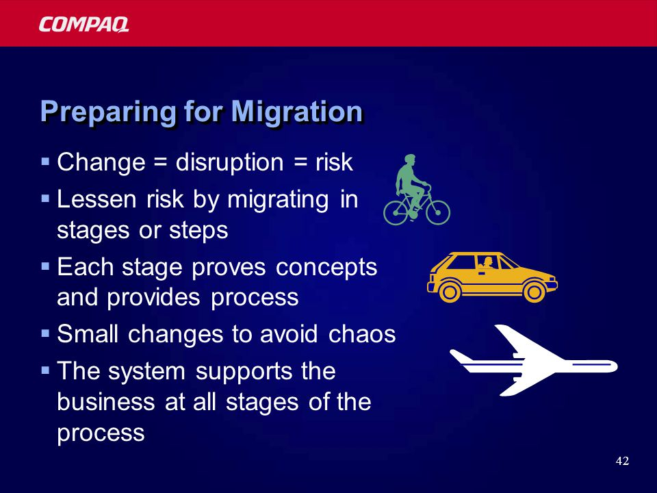 42 Preparing for Migration  Change = disruption = risk  Lessen risk by migrating in stages or steps  Each stage proves concepts and provides process  Small changes to avoid chaos  The system supports the business at all stages of the process