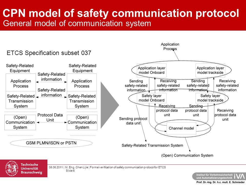 08.06.2011 | M. Eng. Chen Lijie | Formal verification of safety communication protocol for ETCS Slide 6 CPN model of safety communication protocol Gen