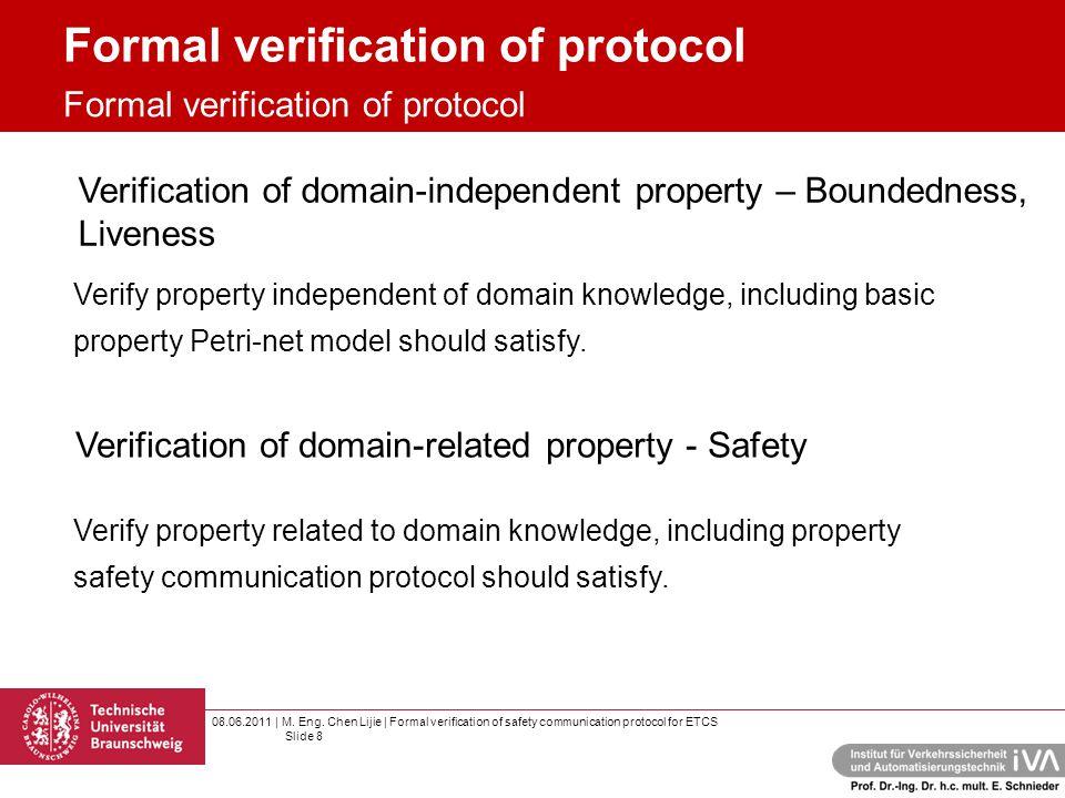 08.06.2011 | M. Eng. Chen Lijie | Formal verification of safety communication protocol for ETCS Slide 8 Formal verification of protocol Verification o