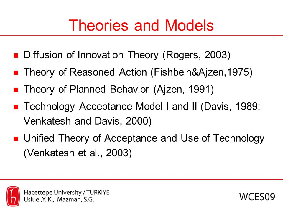 Theories and Models Diffusion of Innovation Theory (Rogers, 2003) Theory of Reasoned Action (Fishbein&Ajzen,1975) Theory of Planned Behavior (Ajzen, 1