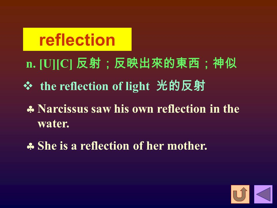 vi. 反射;帶來 ( 不好的 ) 評價;反省  The sound reflected from the wall.  The scandal reflected badly on everyone involved.  The well-done job reflected well on