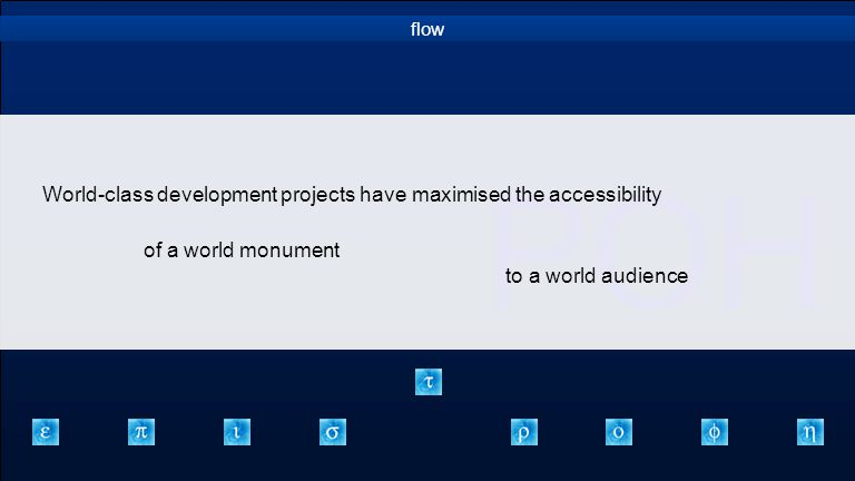ΡΟΗ flow World-class development projects have maximised the accessibility to a world audience of a world monument