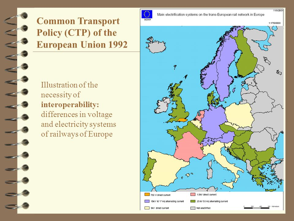 12 Illustration of the necessity of interoperability: differences in voltage and electricity systems of railways of Europe Common Transport Policy (CTP) of the European Union 1992