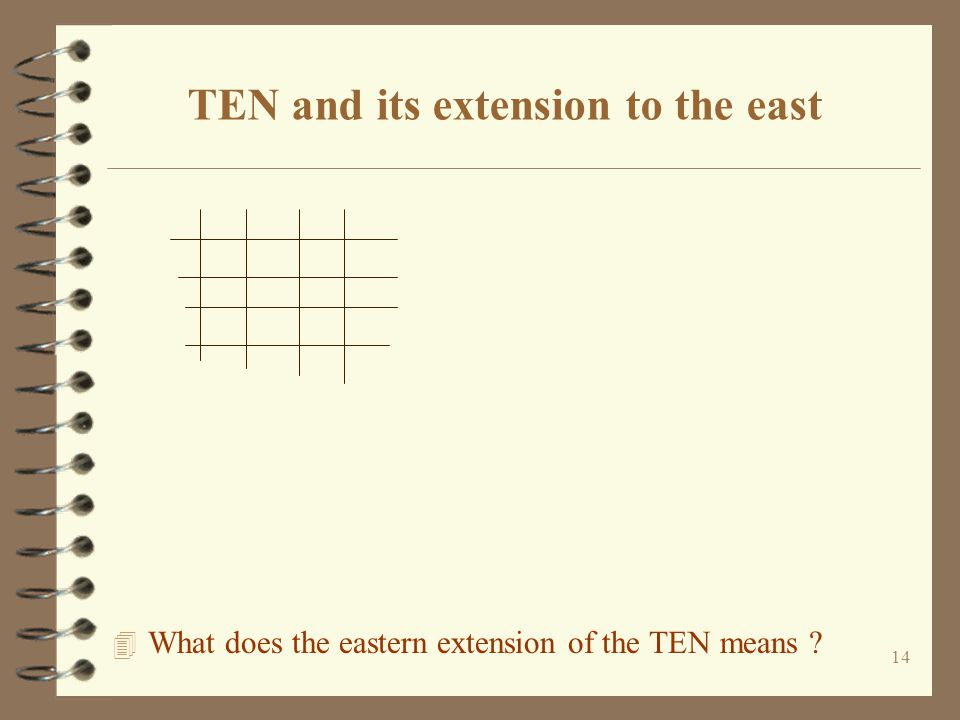14 TEN and its extension to the east 4 What does the eastern extension of the TEN means