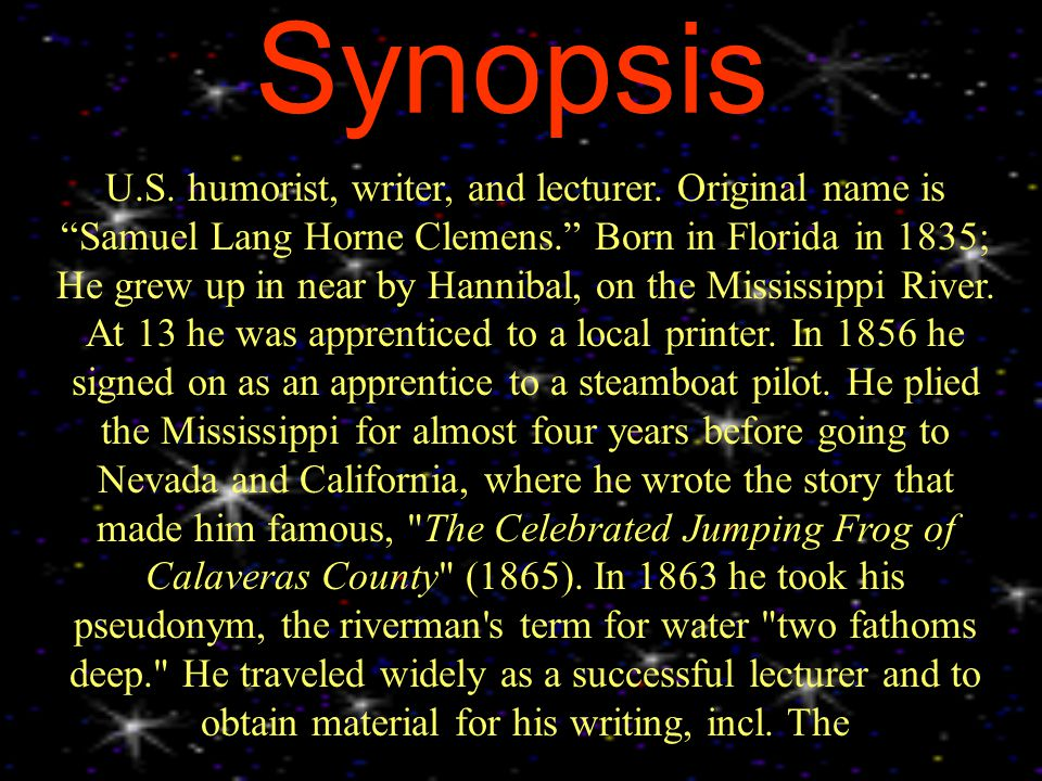 Synopsis U.S. humorist, writer, and lecturer.