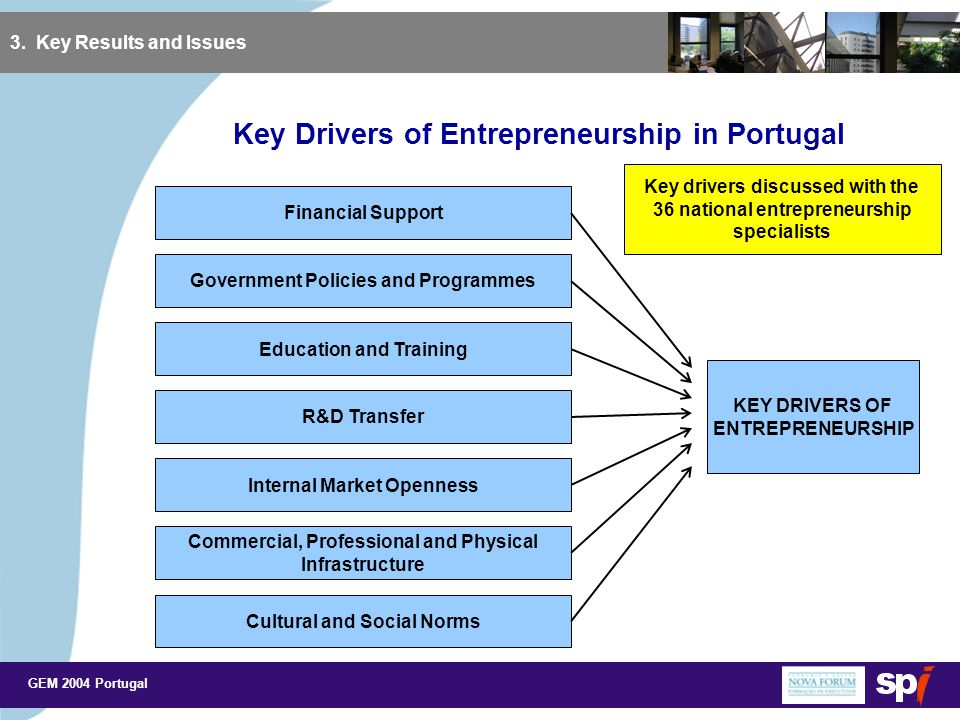 GEM 2004 Portugal 3. Key Results and Issues Key Drivers of Entrepreneurship in Portugal KEY DRIVERS OF ENTREPRENEURSHIP Financial Support Government P