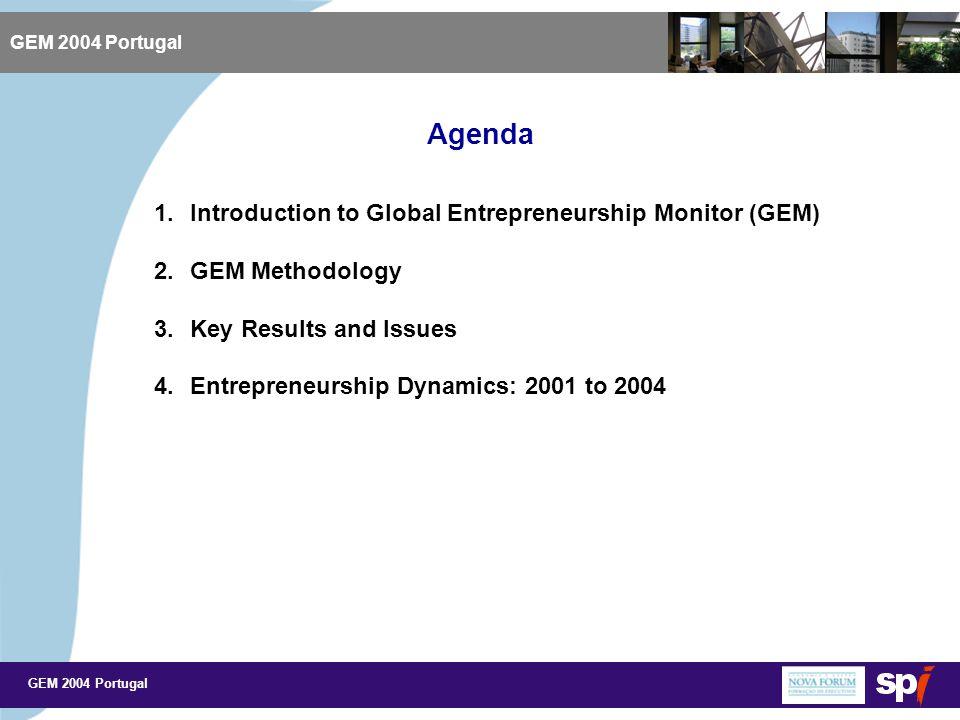 GEM 2004 Portugal Agenda GEM 2004 Portugal 1.Introduction to Global Entrepreneurship Monitor (GEM) 2.GEM Methodology 3.Key Results and Issues 4.Entrepreneurship Dynamics: 2001 to 2004
