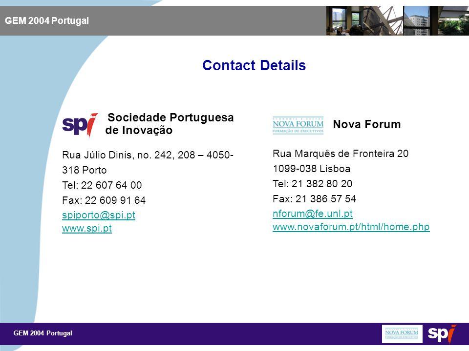 GEM 2004 Portugal Contact Details GEM 2004 Portugal Sociedade Portuguesa de Inovação Rua Júlio Dinis, no.