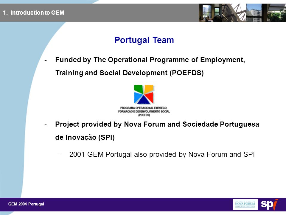 GEM 2004 Portugal Objective of Study 1.